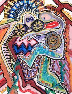 "Sleepwalker by Cindy Trawinski (2003) Tempera on Litho Paper, 20"" x 30"""