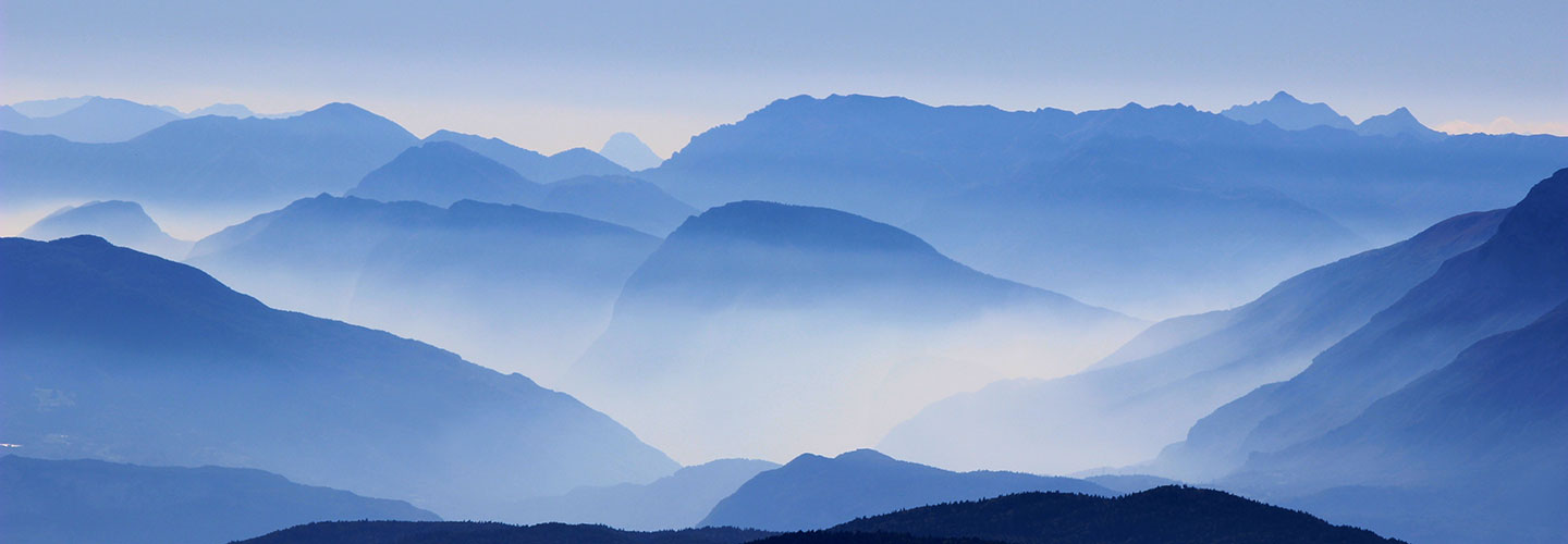 blue shadows of mountains