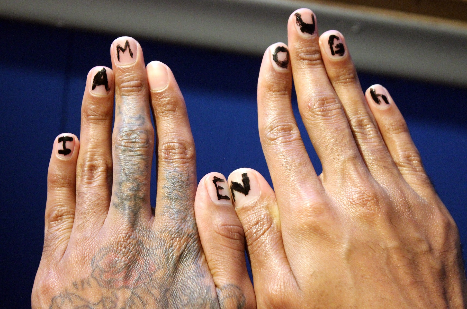 fingers spelling I Am Enough