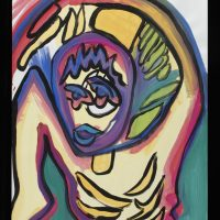 Colorful moving figure, Unfinished by Cindy Trawinski (2005) Tempera on Litho Paper,
