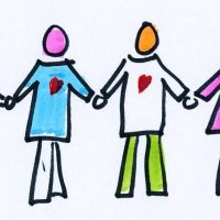 colorful figures holding hands, polyamory