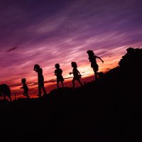 children in silhouette