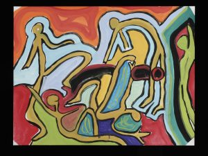 "Untitled by Cindy Trawinski (2005) Tempera on Litho Paper, 20"" x 30"""