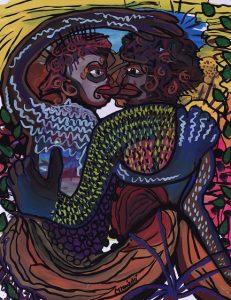 Two Aztec Men Kissing by Cindy Trawinski, © 2001