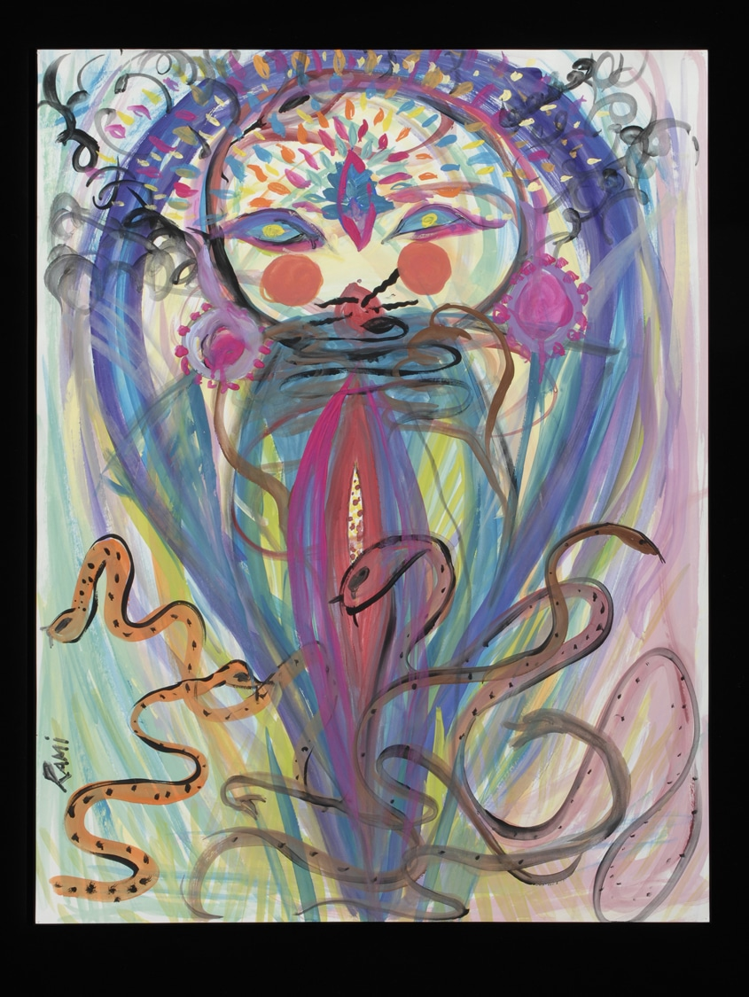 colorful pastel painting by Rami Henrich. snakes