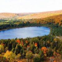 multicolor Autumn forest around blue lake