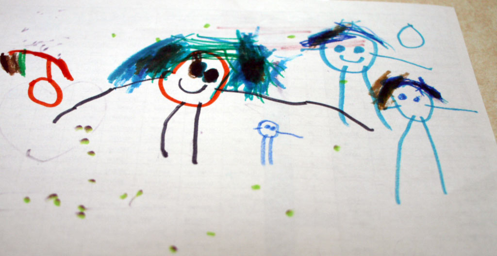 poly family drawn by child