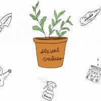 "Illustrated flower pot that reads, ""Sexual Values"""