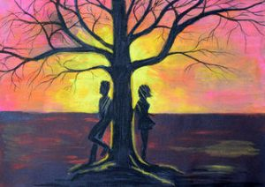 Painting of figures leaning against opposite sides of a tree