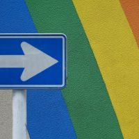 Arrow Pointing Over Rainbow