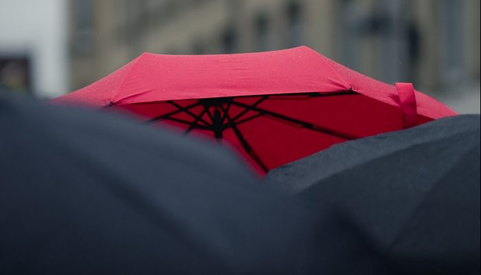 Red umbrella surrounded by black umbrellas