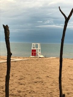 Stormy sky over a quiet beach