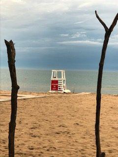 Stormy sky over a quiet beach