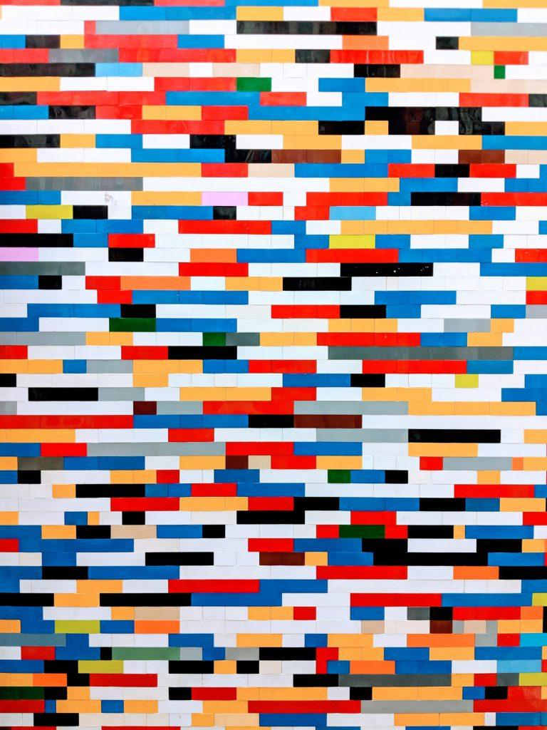 multi-colored intersecting bricks